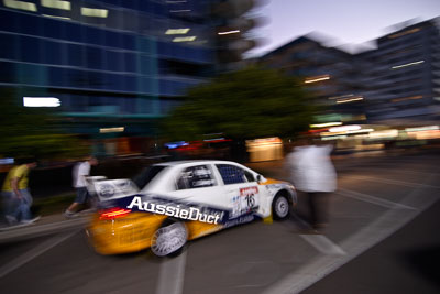 16;16-June-2006;ARC;Australia;Australian-Rally-Championship;David-Callaghan;David-Hills;Evo-7;Mitsubishi-Lancer;Mitsubishi-Lancer-Evolution-VII;Mooloolaba;QLD;Queensland;Sunshine-Coast;atmosphere;auto;ceremonial-start;motorsport;movement;racing;speed;twilight;wide-angle