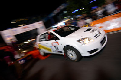 19;16-June-2006;ARC;Anthony-McLoughlin;Australia;Australian-Rally-Championship;Mooloolaba;QLD;Queensland;Stewart-Reid;Sunshine-Coast;Toyota-Corolla-Sportivo;auto;ceremonial-start;motorsport;movement;night;racing;speed;wide-angle