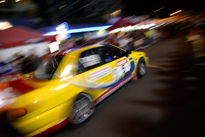 5;16-June-2006;ARC;Australia;Australian-Rally-Championship;Dale-Moscatt;Evo-3;Kelvin-Croker;Mitsubishi-Lancer;Mitsubishi-Lancer-Evolution-III;Mooloolaba;QLD;Queensland;Sunshine-Coast;auto;ceremonial-start;motorsport;movement;night;racing;speed;wide-angle