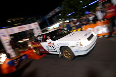 23;16-June-2006;ARC;Australia;Australian-Rally-Championship;Glen-Raymond;Matt-Raymond;Mooloolaba;QLD;Queensland;Subaru-Liberty;Sunshine-Coast;atmosphere;auto;ceremonial-start;motorsport;movement;night;racing;speed;wide-angle
