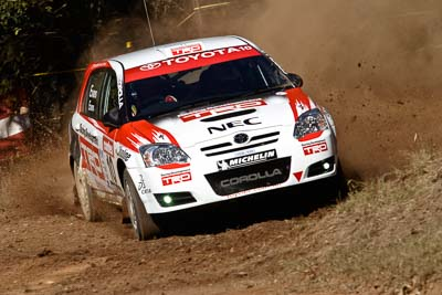 10;17-June-2006;ARC;Australia;Australian-Rally-Championship;Imbil;Off‒Road;QLD;Queensland;Simon-Evans;Sue-Evans;Sunshine-Coast;Team-TRD;Toyota-Corolla-Sportivo;auto;motorsport;racing;telephoto