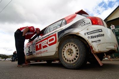 3;18-June-2006;ARC;Australia;Australian-Rally-Championship;Coral-Taylor;Imbil;Neal-Bates;QLD;Queensland;Sunshine-Coast;Team-TRD;Toyota-Corolla-Sportivo;auto;motorsport;movement;racing;service-park;speed;wide-angle