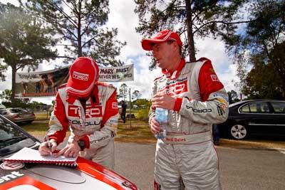 18-June-2006;ARC;Australia;Australian-Rally-Championship;Coral-Taylor;Imbil;Neal-Bates;QLD;Queensland;Sunshine-Coast;atmosphere;auto;motorsport;portrait;racing;service-park;wide-angle