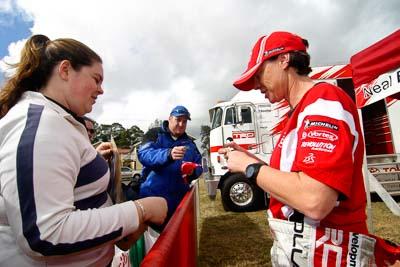 18-June-2006;ARC;Australia;Australian-Rally-Championship;Coral-Taylor;Imbil;QLD;Queensland;Sunshine-Coast;atmosphere;auto;autograph;fans;motorsport;portrait;racing;service-park;signature;spectators;wide-angle
