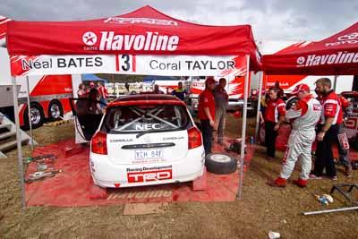 3;18-June-2006;ARC;Australia;Australian-Rally-Championship;Coral-Taylor;Imbil;Neal-Bates;QLD;Queensland;Sunshine-Coast;Team-TRD;Toyota-Corolla-Sportivo;atmosphere;auto;motorsport;racing;service-park;wide-angle