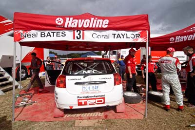 3;18-June-2006;ARC;Australia;Australian-Rally-Championship;Coral-Taylor;Imbil;Neal-Bates;QLD;Queensland;Sunshine-Coast;Team-TRD;Toyota-Corolla-Sportivo;auto;motorsport;racing;service-park;wide-angle