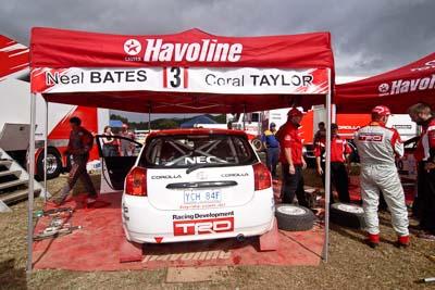 3;18-June-2006;ARC;Australia;Australian-Rally-Championship;Coral-Taylor;Imbil;Neal-Bates;QLD;Queensland;Sunshine-Coast;Team-TRD;Toyota-Corolla-Sportivo;auto;motorsport;racing;service-park;wide-angle