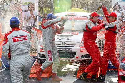 18-June-2006;ARC;Australia;Australian-Rally-Championship;Coral-Taylor;Glen-Weston;Mooloolaba;QLD;Queensland;Scott-Pedder;Simon-Evans;Sunshine-Coast;atmosphere;auto;ceremonial-finish;motorsport;podium;racing;telephoto