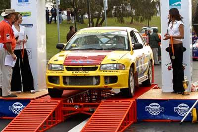 5;18-June-2006;ARC;Australia;Australian-Rally-Championship;Dale-Moscatt;Evo-3;Kelvin-Croker;Mitsubishi-Lancer;Mitsubishi-Lancer-Evolution-III;Mooloolaba;QLD;Queensland;Sunshine-Coast;auto;ceremonial-finish;motorsport;racing;telephoto