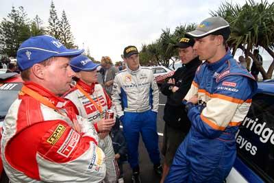 18-June-2006;ARC;Australia;Australian-Rally-Championship;Coral-Taylor;Dale-Moscatt;Dean-Herridge;Mooloolaba;Neal-Bates;QLD;Queensland;Sunshine-Coast;atmosphere;auto;ceremonial-finish;motorsport;movement;podium;portrait;racing;speed;wide-angle