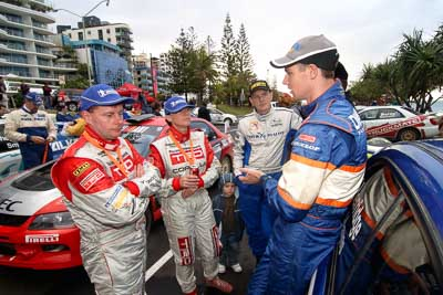 18-June-2006;ARC;Australia;Australian-Rally-Championship;Coral-Taylor;Dale-Moscatt;Dean-Herridge;Mooloolaba;Neal-Bates;QLD;Queensland;Sunshine-Coast;atmosphere;auto;ceremonial-finish;motorsport;movement;podium;portrait;racing;speed;wide-angle