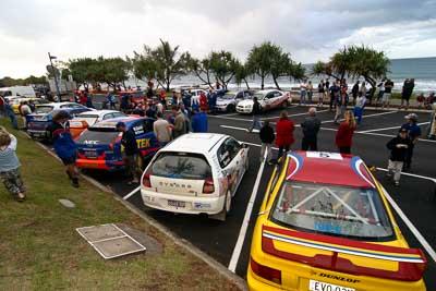 26;27;28;4;5;18-June-2006;ARC;Australia;Australian-Rally-Championship;Dale-Moscatt;Elysia-Kruper;Evo-3;Ford-Focus;John-Berne;Kelvin-Croker;Ken-Garrioch;Leigh-Garrioch;Mark-Stacey;Michael-Guest;Mitsubishi-Lancer;Mitsubishi-Lancer-Evolution-III;Mitsubishi-Mirage;Mooloolaba;Pirtek-Rally-Team-Ford;QLD;Queensland;Scott-Beckwith;Simon-Jansen;Sunshine-Coast;atmosphere;auto;ceremonial-finish;motorsport;podium;racing;wide-angle