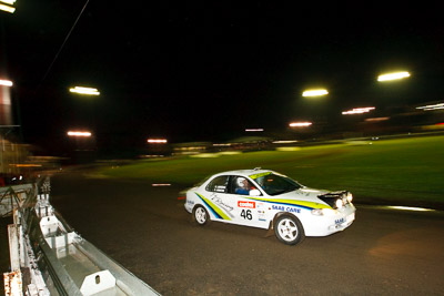 46;20-June-2008;ARC;Australia;Australian-Rally-Championship;Hyundai-Lantra;Kent-Lawrence;Maroochy-Showgrounds;Nambour;QLD;Queensland;Stephen-Andrews;Sunshine-Coast;auto;motorsport;movement;night;racing;speed;wide-angle