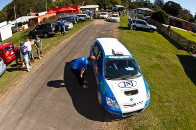 7;21-June-2008;ARC;Australia;Australian-Rally-Championship;Glen-Raymond;Matt-Raymond;QLD;Queensland;Sunshine-Coast;Toyota-Corolla-Sportivo;atmosphere;auto;fisheye;motorsport;racing;service-park