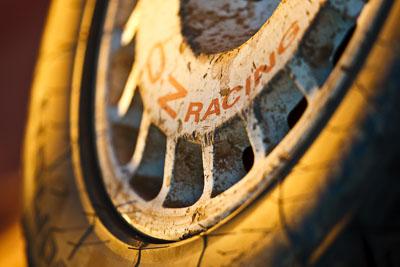 21-June-2008;ARC;Australia;Australian-Rally-Championship;OZ-Racing;QLD;Queensland;Sunshine-Coast;Topshot;afternoon;atmosphere;auto;brand;damagae;detail;dirt;light;logo;motorsport;racing;scratches;service-park;super-telephoto;tyre;wheel