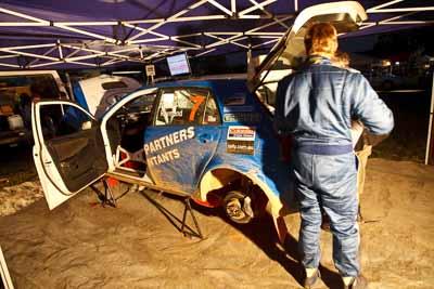 7;21-June-2008;ARC;Australia;Australian-Rally-Championship;Glen-Raymond;Matt-Raymond;QLD;Queensland;Sunshine-Coast;Toyota-Corolla-Sportivo;atmosphere;auto;motorsport;movement;night;racing;service-park;speed;wide-angle
