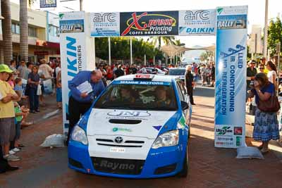 7;14-November-2008;ARC;Australia;Australian-Rally-Championship;Coffs-Coast;Coffs-Harbour;Glen-Raymond;Matt-Raymond;NSW;New-South-Wales;Toyota-Corolla-Sportivo;auto;ceremonial-start;media-day;motorsport;racing;wide-angle
