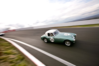 34;10-April-2009;1959-Austin-Healey-3000;Australia;Bathurst;Brian-Duffy;FOSC;Festival-of-Sporting-Cars;Historic-Sports-Cars;Mt-Panorama;NSW;New-South-Wales;RFE437;auto;classic;clouds;motion-blur;motorsport;racing;sky;vintage;wide-angle