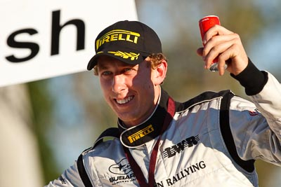 10-May-2009;APRC;Asia-Pacific-Rally-Championship;Australia;Brendan-Reeves;IROQ;Imbil;Imbil-Showgrounds;International-Rally-Of-Queensland;QLD;Queensland;Rally-Queensland;Sunshine-Coast;auto;celebration;driver;motorsport;official-finish;person;podium;portrait;racing;showgrounds;super-telephoto