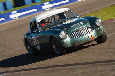 34;1959-Austin-Healey-3000;25-July-2009;Australia;Brian-Duffy;FOSC;Festival-of-Sporting-Cars;Group-S;NSW;Narellan;New-South-Wales;Oran-Park-Raceway;auto;classic;historic;motion-blur;motorsport;racing;telephoto;vintage