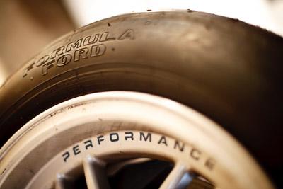 30-August-2009;50mm;Australia;Formula-Ford;Morgan-Park-Raceway;QLD;Queensland;Queensland-State-Championship;Topshot;Warwick;auto;brand;close‒up;detail;logo;motorsport;racing;tyre;wheel