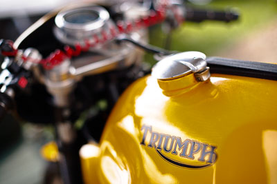 19-September-2009;50mm;Australia;Kurwongbah;Lakeside-Classic-Speed-Festival;Lakeside-Park;Lakeside-Raceway;QLD;Queensland;Triumph;atmosphere;auto;brand;close‒up;detail;fuel-tank;logo;motorbike;motorcycle;motorsport;racing