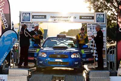 55;17-July-2011;55;APRC;Asia-Pacific-Rally-Championship;Ben-Haselden;International-Rally-Of-Whangarei;NZ;New-Zealand;Northland;Rally;Subaru-Impreza-WRX-STI;Tom-Clancey;Whangarei;auto;garage;motorsport;podium;racing;telephoto