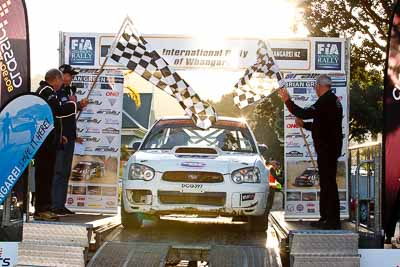57;17-July-2011;57;APRC;Anthony-Mabbett;Asia-Pacific-Rally-Championship;Doug-Adnitt;International-Rally-Of-Whangarei;NZ;New-Zealand;Northland;Rally;Subaru-Impreza-WRX-STI;Whangarei;auto;garage;motorsport;podium;racing;telephoto