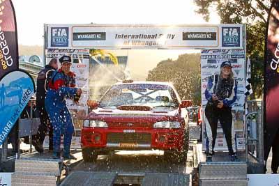 45;17-July-2011;45;APRC;Asia-Pacific-Rally-Championship;Brendan-Oakden;International-Rally-Of-Whangarei;NZ;Natasha-Oakden;New-Zealand;Northland;Rally;Subaru-Impreza-WRX;Whangarei;auto;garage;motorsport;podium;racing;telephoto
