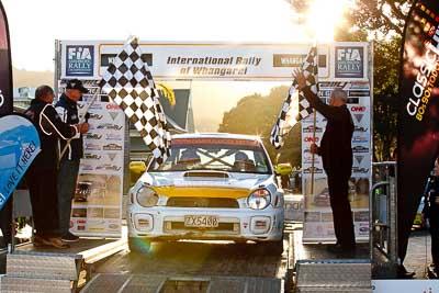 48;17-July-2011;48;APRC;Aaron-Conaghan;Asia-Pacific-Rally-Championship;Carl-Adnitt;International-Rally-Of-Whangarei;NZ;New-Zealand;Northland;Rally;Subaru-Impreza-RS;Whangarei;auto;garage;motorsport;podium;racing;telephoto