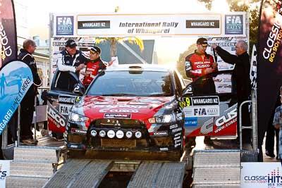 9;17-July-2011;9;APRC;Asia-Pacific-Rally-Championship;International-Rally-Of-Whangarei;NZ;New-Zealand;Northland;Pertamina-Cusco-Racing;Rally;Rifat-Sungkar;Scott-Beckwith;Whangarei;auto;garage;motorsport;podium;racing;telephoto