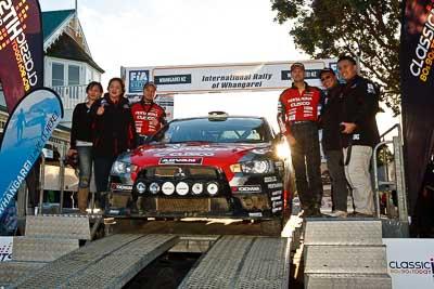 9;17-July-2011;9;APRC;Asia-Pacific-Rally-Championship;International-Rally-Of-Whangarei;NZ;New-Zealand;Northland;Pertamina-Cusco-Racing;Rally;Rifat-Sungkar;Scott-Beckwith;Whangarei;auto;garage;motorsport;podium;racing;wide-angle