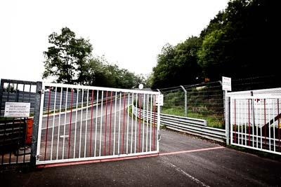 29-July-2011;Breidscheid;Deutschland;Ex‒Mühle;Germany;Green-Hell;Grüne-Hölle;Nordschleife;Nuerburg;Nuerburgring;Nurburg;Nurburgring;Nürburg;Nürburgring;Rhineland‒Palatinate;atmosphere;auto;barrier;circuit;fence;fog;gate;landscape;mood;motorsport;racing;road;scenery;track;trees;wide-angle