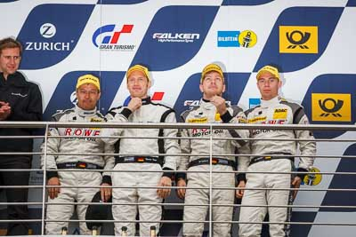 20-May-2013;24-Hour;Deutschland;Germany;Jan-Seyffarth;Klaus-Graf;Nico-Bastian;Nordschleife;Nuerburg;Nuerburgring;Nurburg;Nurburgring;Nürburg;Nürburgring;ROWE-Racing;Rhineland‒Palatinate;Thomas-Jaeger;Thomas-Jäger;atmosphere;auto;celebration;motorsport;paddock;podium;portrait;racing;telephoto